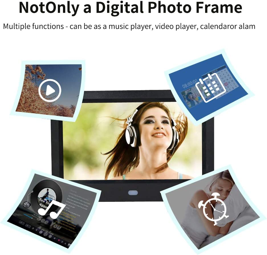 BigTron 7 Inch 1024X600 Resolutin Digital Photo Frame HD Video Frame 16:9 250cd//㎡IPS Screen USB and SD Card Slots with Remote Control White/… Non-WiFi