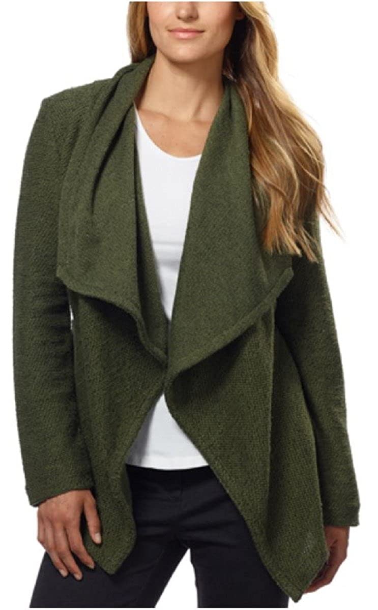 BNCI Womens Tweed Drape Front Shawl Collar Cardigan