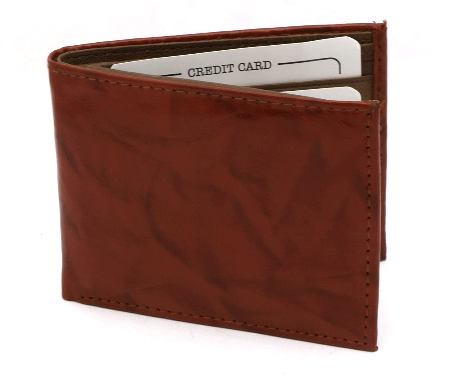 Bifold Genuine Leather Tan Color Compact Wallet 2 Currency Pockets