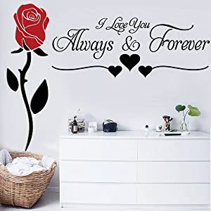2 Pieces Vinyl Wall Decor I Love You Always & Forever and Creative Romantic Removable Flowers Rose Wall Sticker Home Wall Art Decor Flowers Wall Decals for Couple Bedroom Living Room Girls Room Home Decoration.