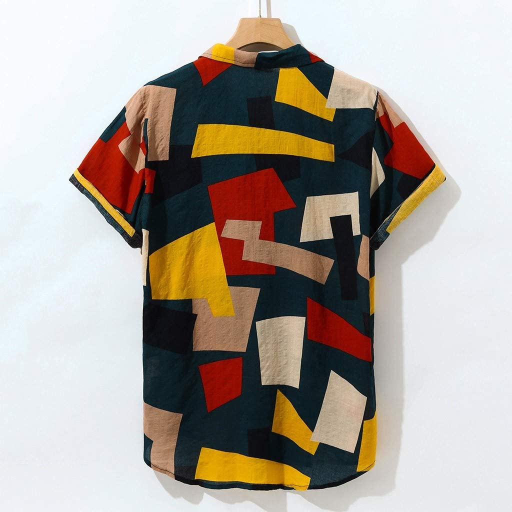 Leyerer Mens Casual Short Sleeve Hippie Shirts Colorblock Geometric Printed Turndown Loose Hawaiian Shirt Tops