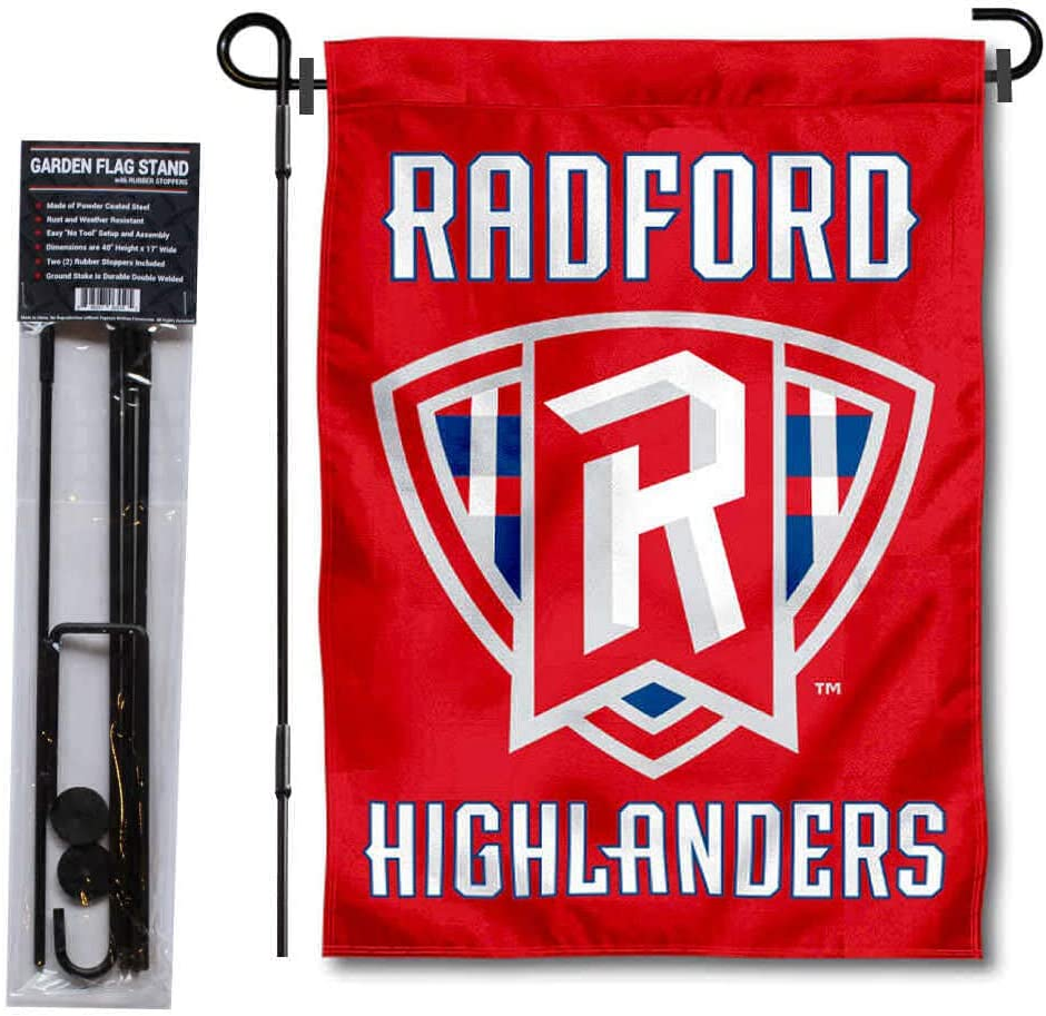 College Flags & Banners Co. Radford Highlanders Garden Flag and USA Flag Stand Pole Holder Set