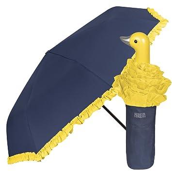 Paraguas Plegable de Mujer con simpático Mango con Forma de Pato y Volantes Amarillo - Paraguas