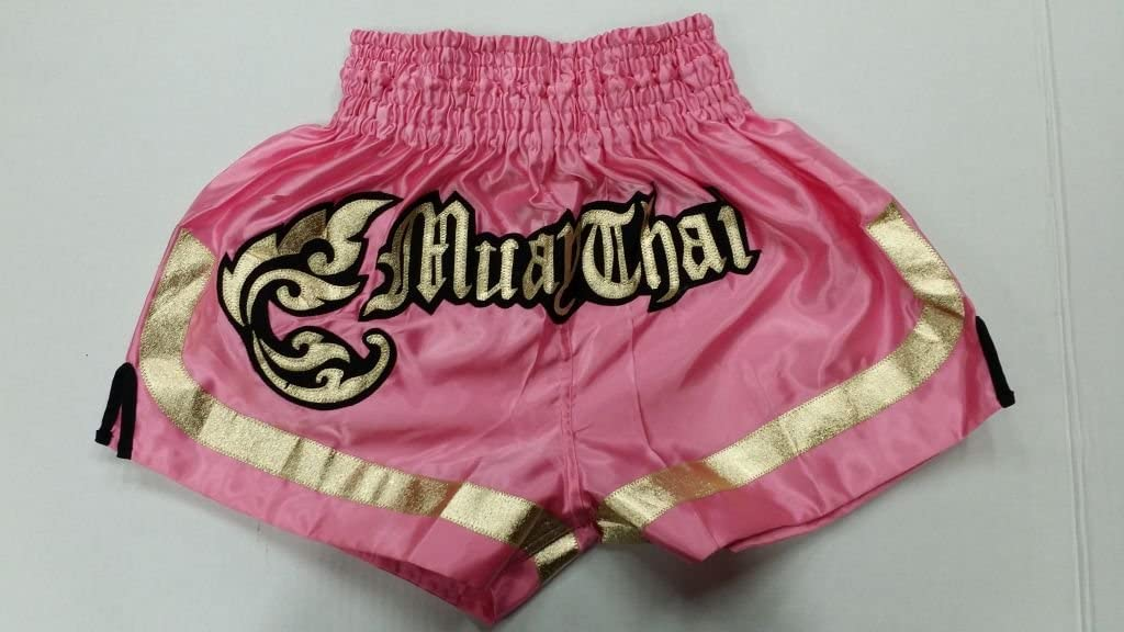Woldorf USA MMAボクシングムエタイShorts inサテンロイヤルピンクゴールドCutt Letters  Small