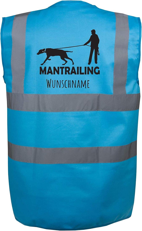 Gr/ün S Motiv 8 Mantrailing Hundesport Warnweste Sicherheitsweste mit Namen oder Text personalisiert