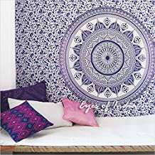 EYES OF INDIA - TWIN WHITE PURPLE MANDALA OMBRE WALL HANGING TAPESTRY BEDSPREAD Beach Boho Bohemian Indian Throw