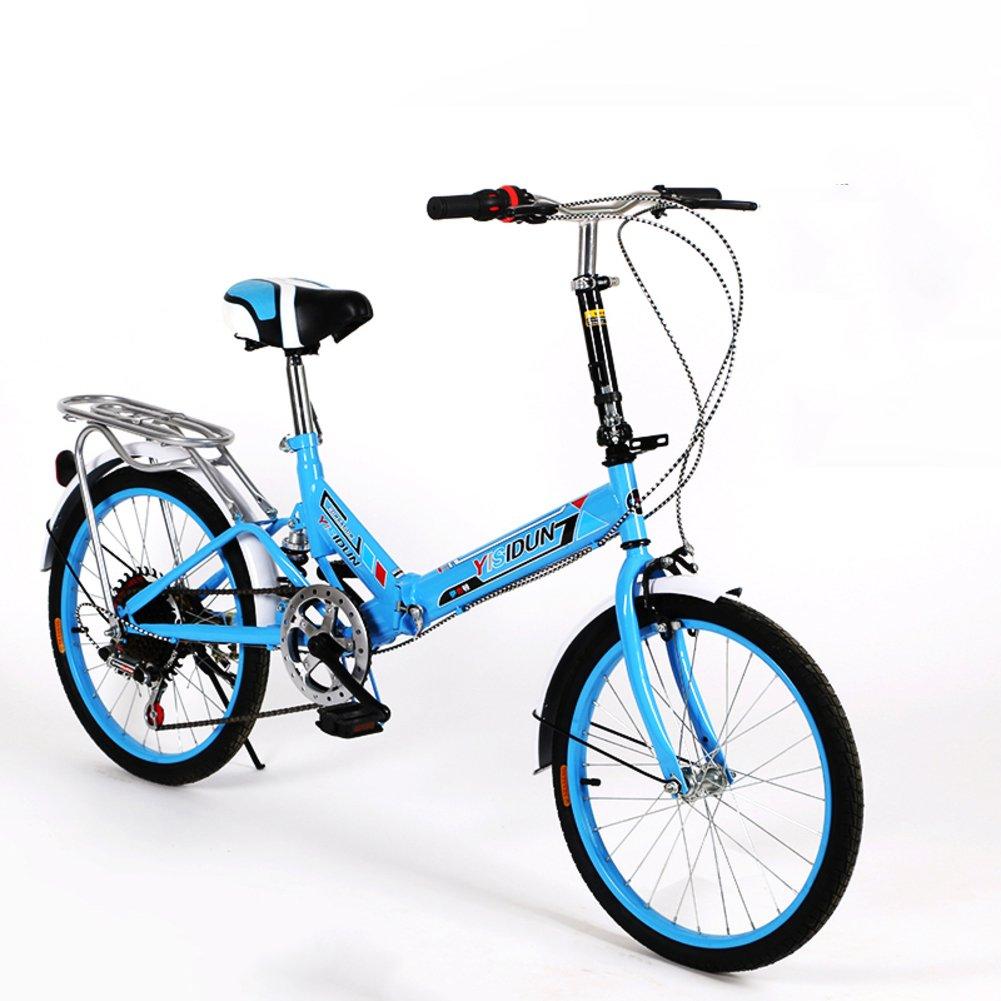 女性 折りたたみ自転車, 大人 折りたたみ自転車 女性自転車 6 速 シマノ 男女 スタイル 学生の車 折りたたみ自転車 B07D2BGNL8 20inch|青 青 20inch