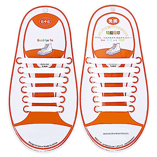 Talent Fashion Kids/Adults Multicolor Tieless Elastic Silicone No Tie Shoelaces Waterproof Rubber Flat Running Shoe Laces for Sneakers Board Shoes Casual Shoes and Boots Kid White