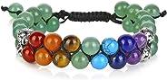 Top Plaza Bead Chakra Bracelet 7 Chakras Healing Crystals Bracelet Yoga Stone Beads Bracelets Meditation Relax Anxiety Bangl