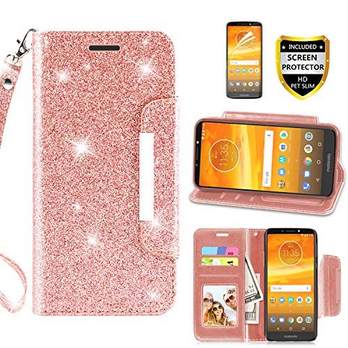 Motorola Moto E5 Plus Case, Moto E5 Supra Phone Case Wallet Purse with Screen Protector PU Leather Magnetic Card Holder Slot Wrist Strap Bling Glitter Glisten Protective for Women Girls, Rose Gold