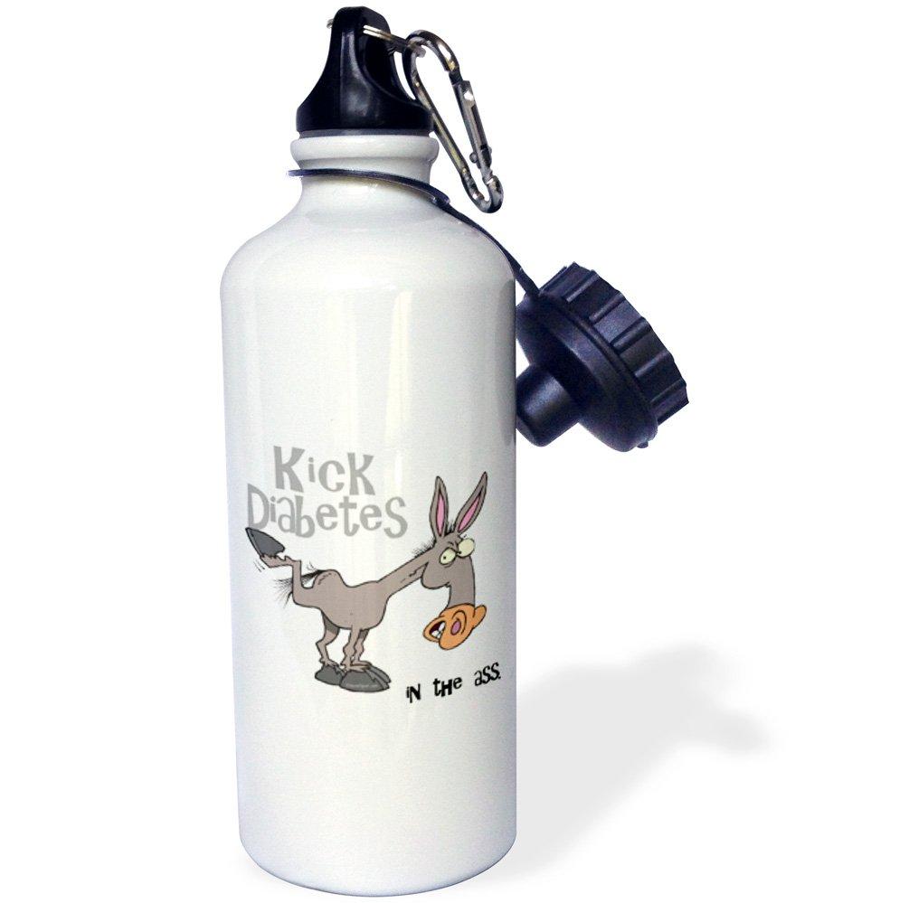 21 oz White 3dRose wb/_115594/_1Kick Diabetes In The Ass Awareness Ribbon Cause Design Sports Water Bottle
