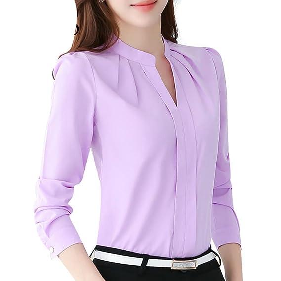Mujeres Manga Larga Camisetas - Elegante Color Sólido Gasa Shirt Cuello EN V Blusa Trabajo Oficina