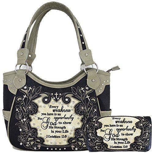 (Embroidered Bible Verse 2 Corinthians 12:9 Purse Scripture Western Handbag Women Shoulder Bags Wallet Set (Black/Grey) )