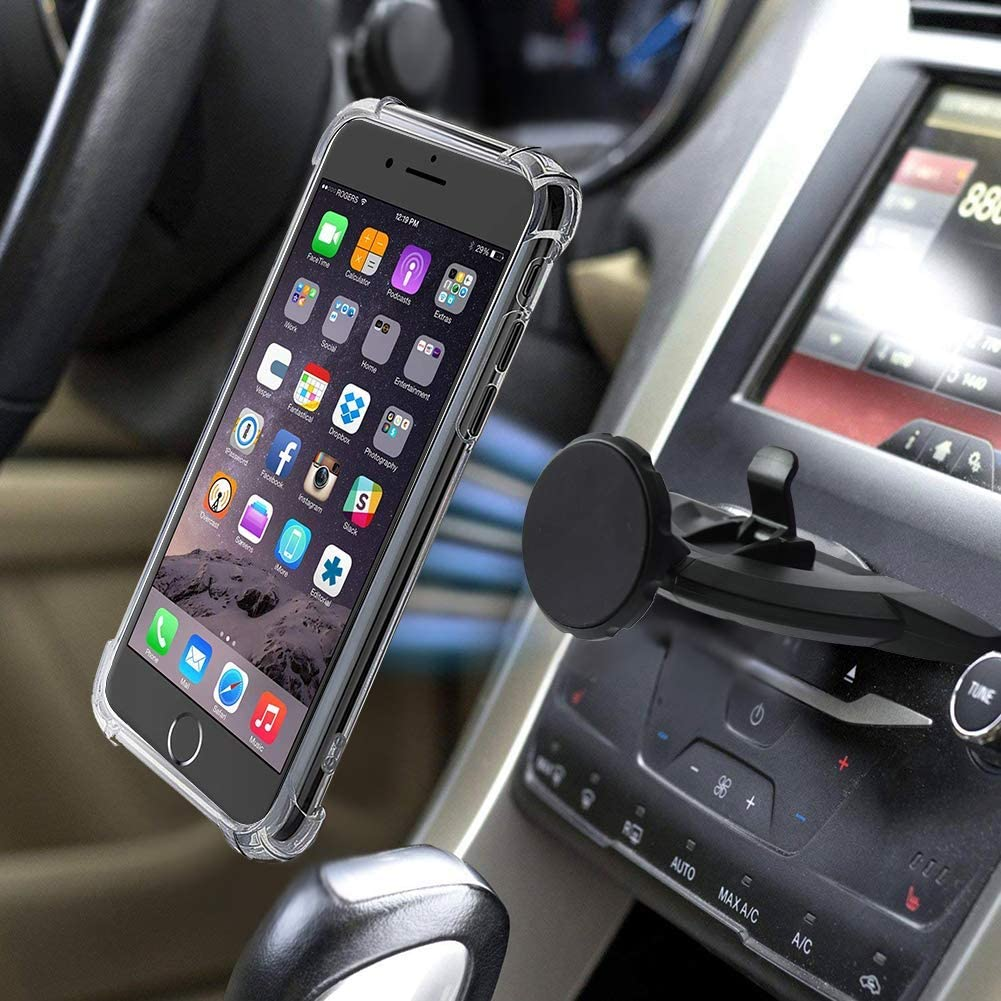 MANORDS Magnetic CD Car Phone Mount Universal Magnet CD Mount 360/°Rotation GPS Mount Compatible iPhone XS//X//8//8Plus//7Plus//Samsung Galaxy S9//S8//S7and More