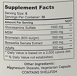 Zahler SynerG, Advanced Glucosamine Sulfate joint supplement with MSM, Builds Healthy Joint Cartilage, Certified Kosher, 180 Capsules