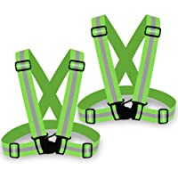 Zacro 2pcs Adjustable Safety Vest, Reflective Running Safety, Lightweight Bright Vest Waist Belt for Outdoor Jogging, Cycling, Walking, and Motorcycle Riding (Green)