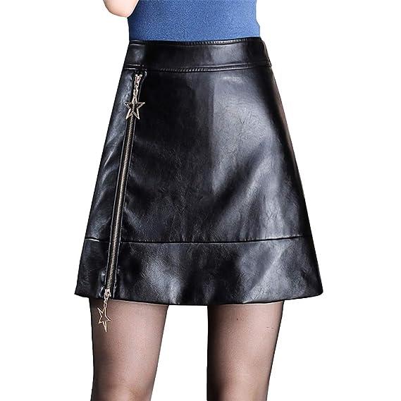 DISSA D6339 - Falda de Piel sintética para Mujer, con Cremallera ...