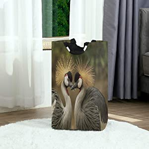 DAOPUDA Laundry Bag Bird Crown Crane Sweet Kiss Image Cute Funny Two Gray Feather Beautiful Pompom Large Laundry Hamper Bags for Heavy-Duty Use with Strap,Standing Clothes Basket for Dorm Bathroom