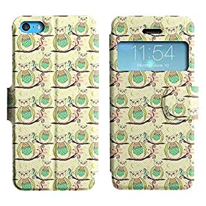 Be-Star Colorful Printed Design Slim PU Leather View Window Stand Flip Cover Case For Apple iPhone 5c ( Cute Owl ) Kimberly Kurzendoerfer