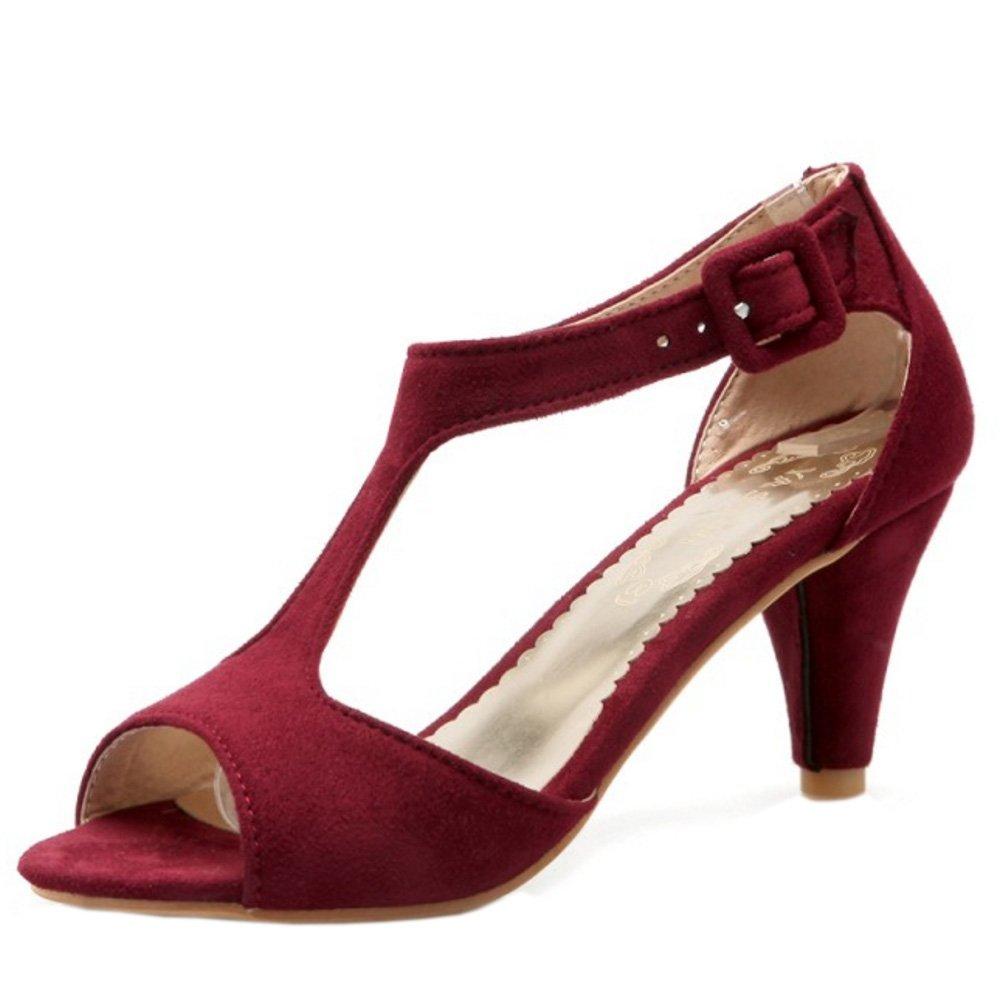 RAZAMAZA B01M4L7Q67 Femmes Peep RAZAMAZA Toe Moyen Sandales Cone Talons Moyen T-strap Chaussures De Boucle Vin Rouge 8c3efa0 - reprogrammed.space