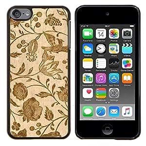 TECHCASE---Cubierta de la caja de protección para la piel dura ** Apple iPod Touch 6 6th Touch6 ** --Papel pintado retro de la vendimia floral de las floraciones de Brown