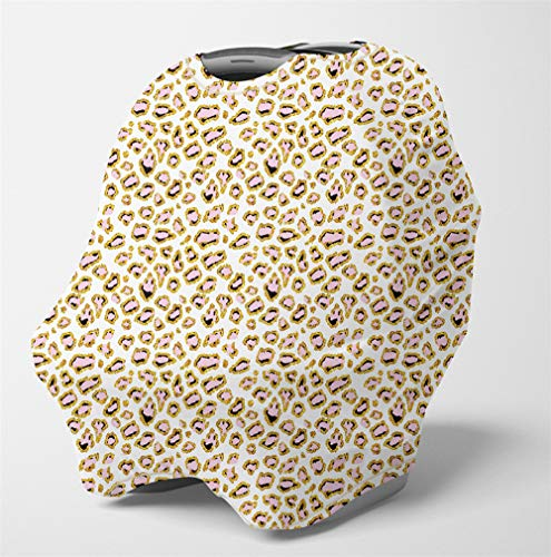 Nursing Cover Multi Use Breastfeeding Scarf - Baby Car Seat Covers, Infant Stroller Cover, Carseat Canopy for Boys (Pink Leopard Print)