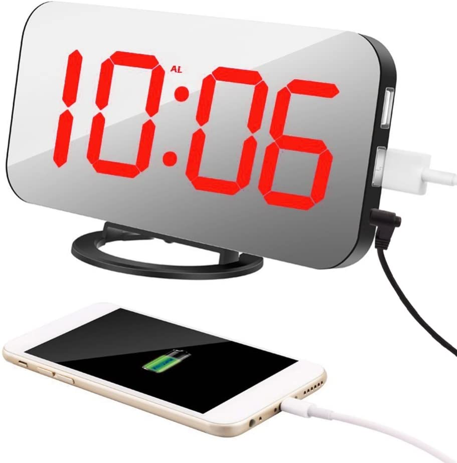 Mirror HD LED Clock with Large 6.5 Easy-Read Display Sunshay Digital Alarm Clock Dual USB Charger Ports Diming Mode Easy Snooze Function Blue