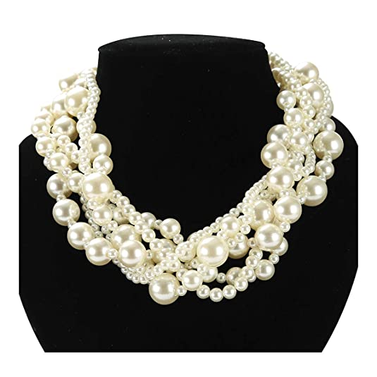 Simulated Pearl Choker Necklace for Women Manual Bead Multi Strand Necklace for Bridal Jewelry