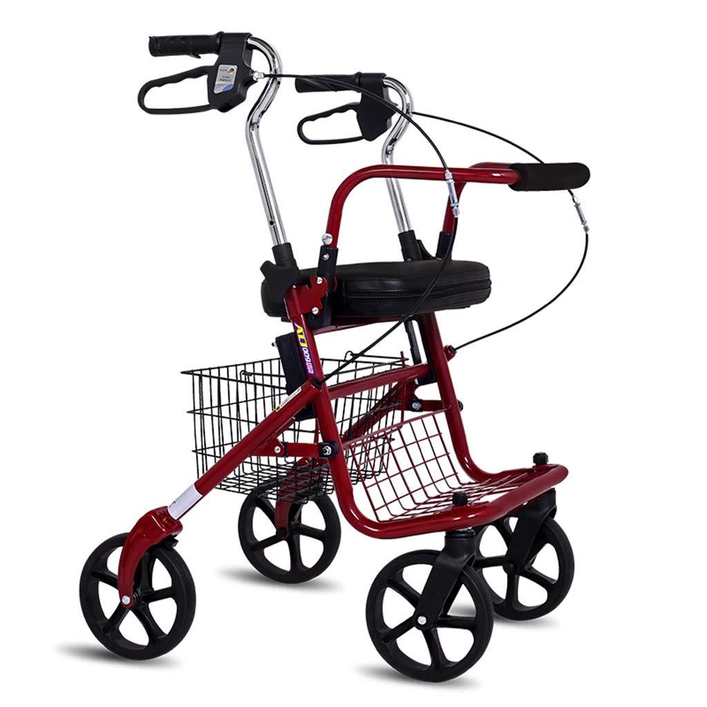 老人ショッピングカート、トロリー折りたたみ式四輪ポータブルシート付き歩行補助松葉杖 B07NRHSDRG