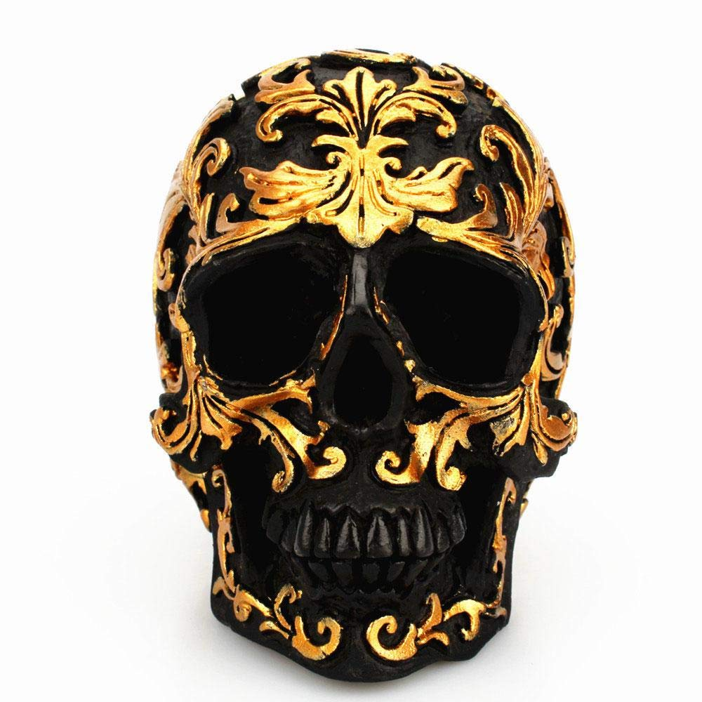 Aolvo Skull Model Mini Gold Skull Head Skeleton Model Resin Realistic Human Skull Model for Halloween Props Home Decorations Vintage Collection/Figurine Statue Night Party Decorative Craft(Golden)