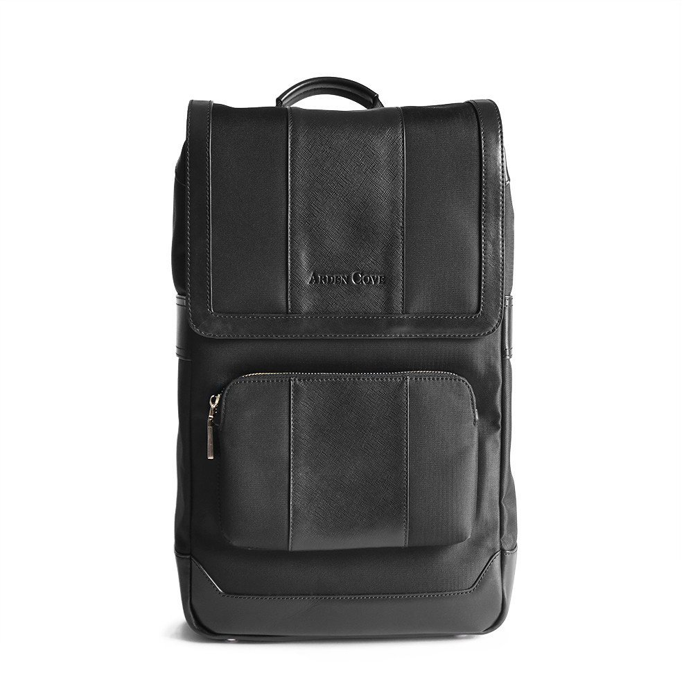 Waterproof Laptop Backpack 17-inch Leather Business Work College School Travel for Women / Men (Black)