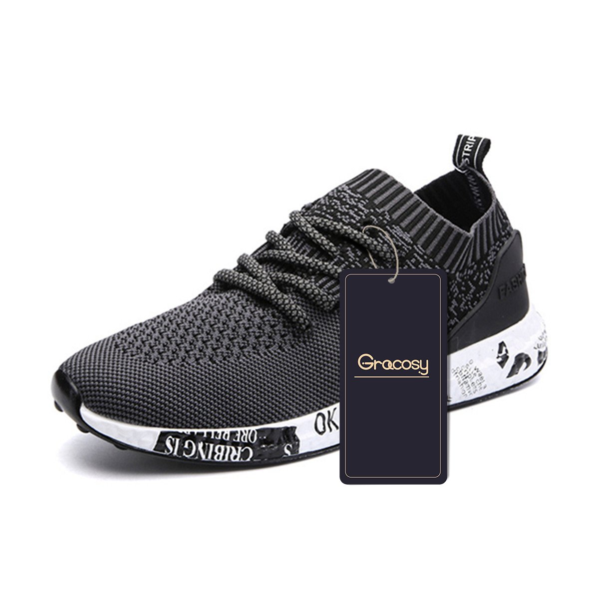 gracosy Casual Sport Shoes, Men's Lightweight Daily Walking Shoes Athletic Sports Shoes Breathable Fashion Sneakers Black 44 EU