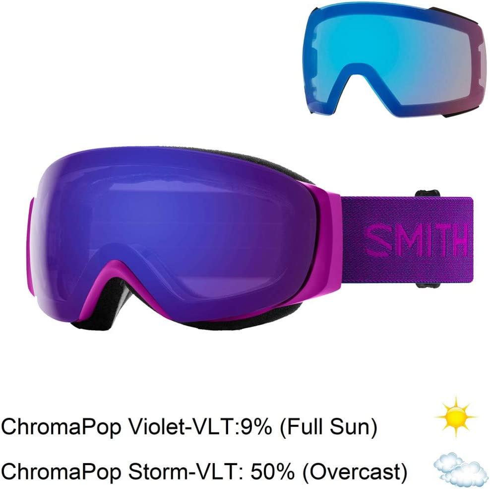 Smith Optics I//O Mag S Adult Snowmobile Goggles Fuchsia//Chromapop Everyday Violet Mirror//One Size