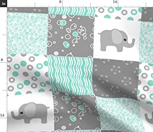 Spoonflower Fabric - Teal Elephant Quilt Mint Turquoise Elephants Baby Gray Cheater Green Printed on Petal Signature Cotton Fabric by The Yard - Sewing Quilting Apparel Crafts Decor