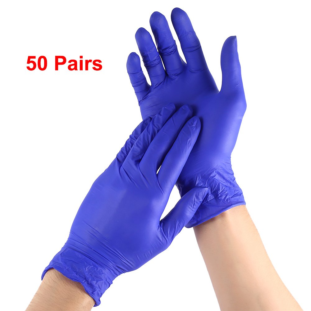 Household Powder Free Disposible Rubber Gloves,100Pcs/box 50Pairs Medical Grade Food Safe Disposable Gloves Anti Slip Latex Gloves For Home Kitchen Cleaning Hand Protection (M Size)