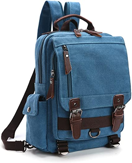 HomeTaste Canvas Crossbody Sling Bag Small Backpack Carry-on Daypack