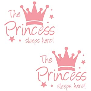 Kukiwhy 2 Pcs Wall Sticker Princess Sleep Here 13.4 Inch Little Crown Star Art Quotes Wall Decal Decor for Living Room Bedroom