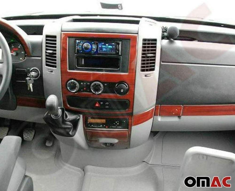 OMAC USA Car Interior Accessories Decoration Dashboard Trim Kit Cover 24 Pcs. Walnut Wooden Look for Mercedes Sprinter W906 2007-2018