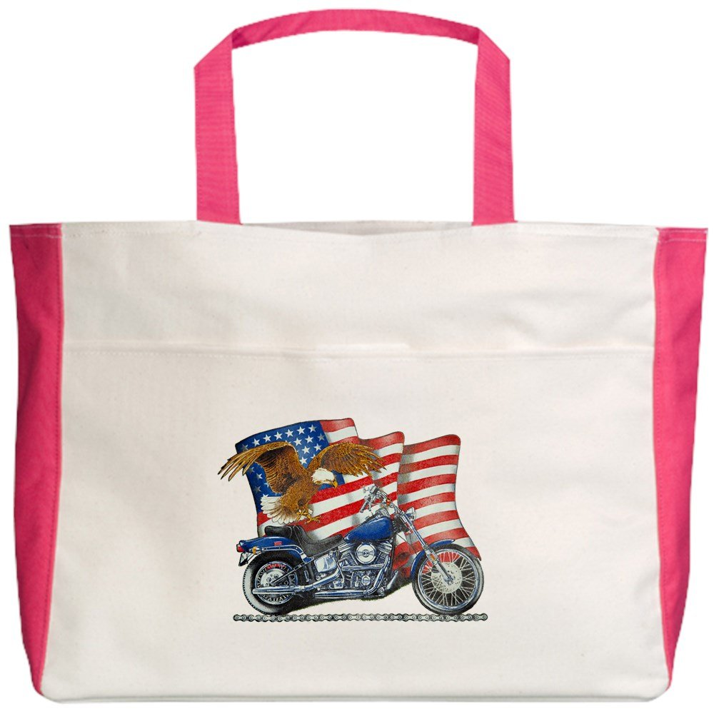 Royal Lion Beach Tote (2-Sided) Motorcycle Eagle and US Flag - Fuchsia