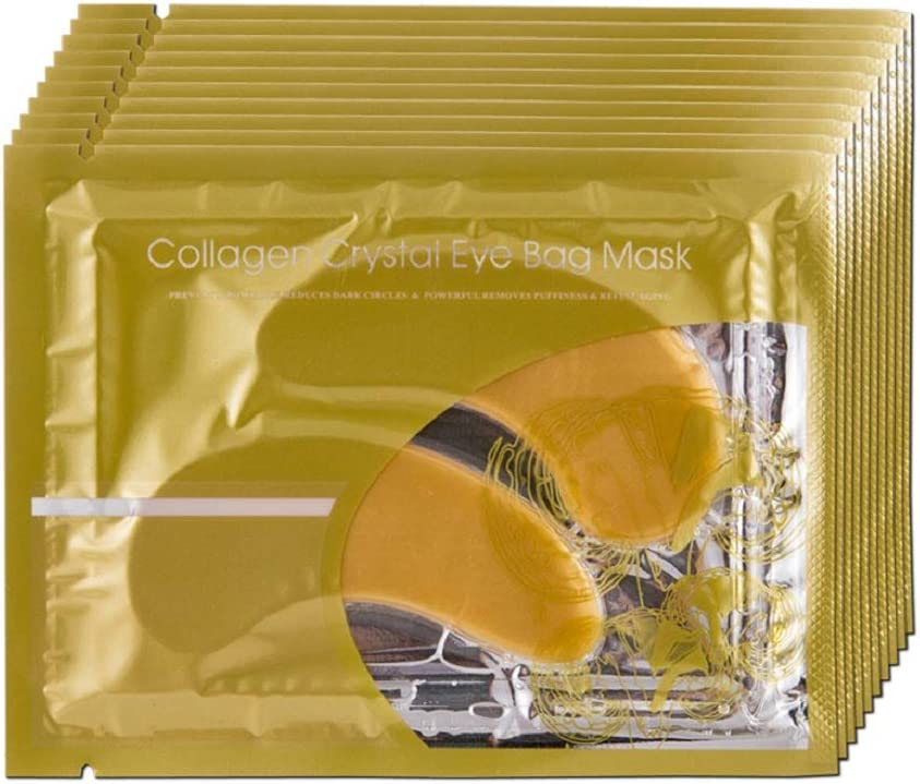 Collagen Crystal Eye Mask, Gold Eye Mask, Anti Aging, Moisturiser for Under Eye Wrinkles, Remove Eye Bags, Dark Circles, Puffy Eyes(10 Pairs)