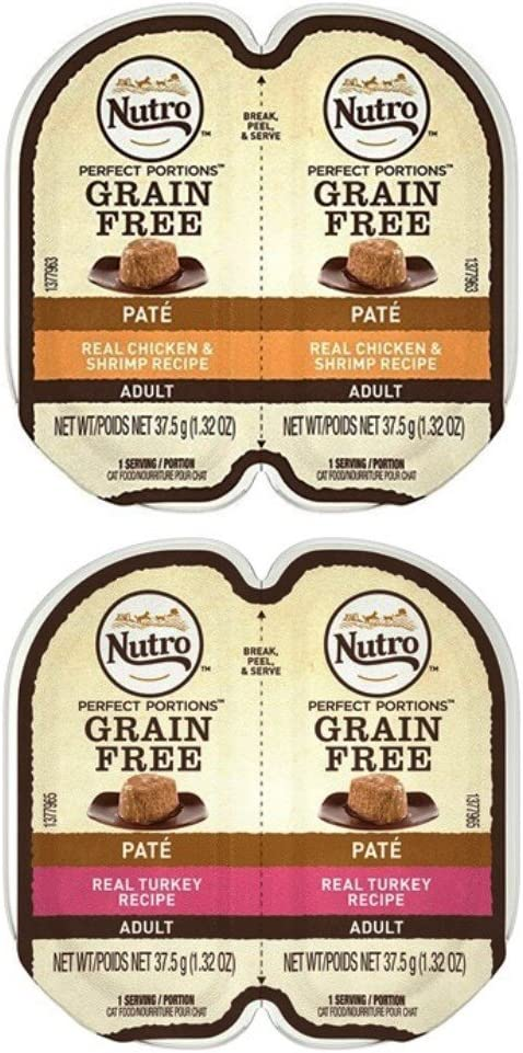 Nutro Perfect Portions Grain Free Soft Loaf Cat Food 2 Flavor 8 Can Variety Bundle, (4) Each: Chicken & Shrimp, Turkey - 2.6 Ounces (8 Cans Total)
