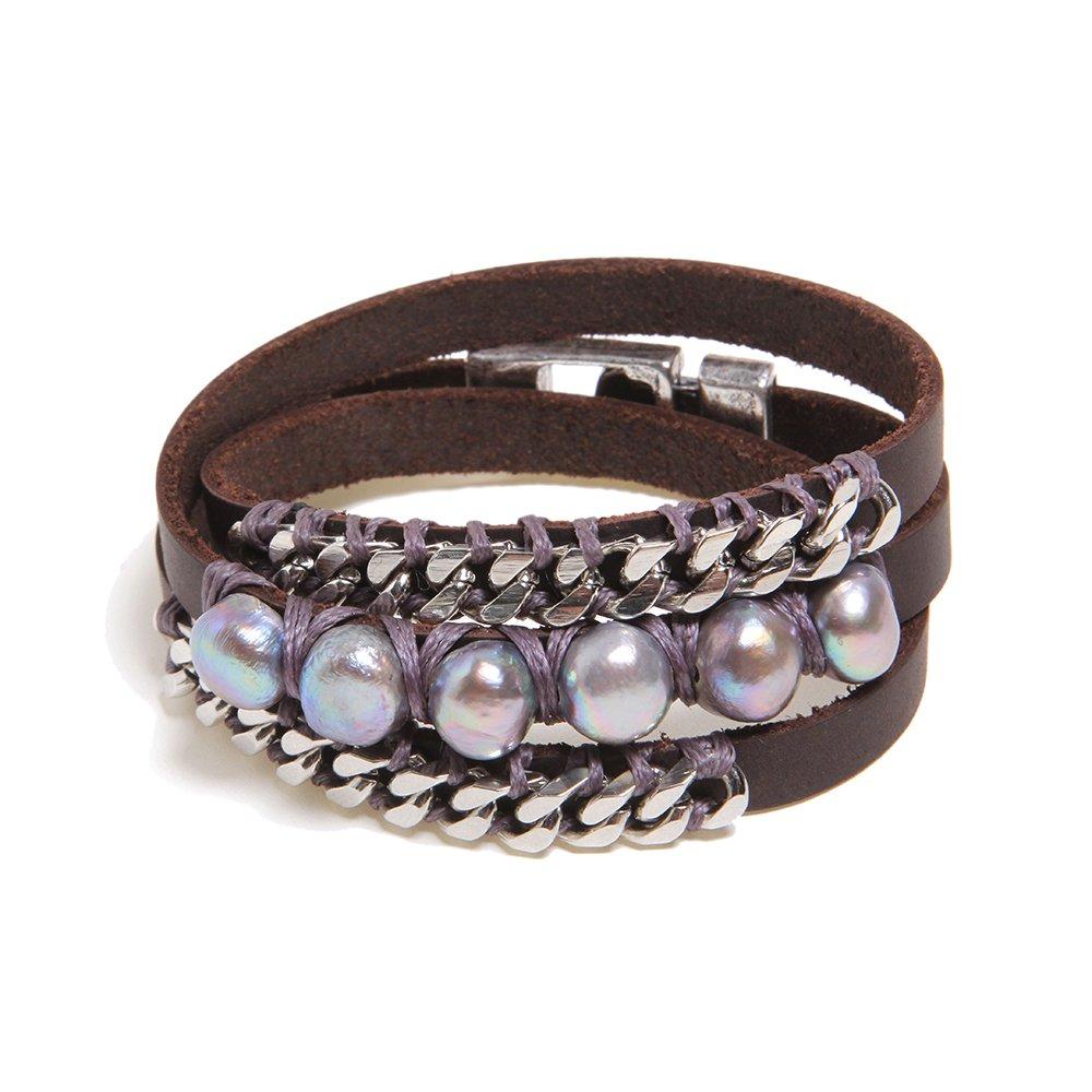 Leather Wrap Bracelet B309-SVR-GRY