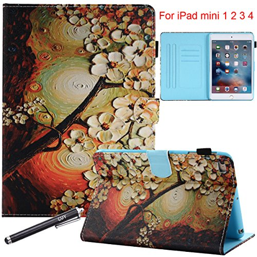 Generations Plum - iPad Mini 1 2 3 4 Case, Newshine Magnetic PU Leather Flip Stand [Card Slots] Wallet Case Cover with Auto Sleep/Wake Function for Apple iPad Mini 1st, 2nd, 3rd and 4th Generation - Plum Flower