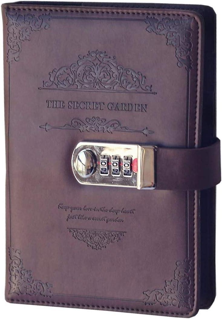 A5-Gr/ö/ße mit Zahlenschloss Business Passcode Tagebuch ToiM Notizbuch aus PU-Leder Vintage-Stil abschlie/ßbar Nachf/üllpackung