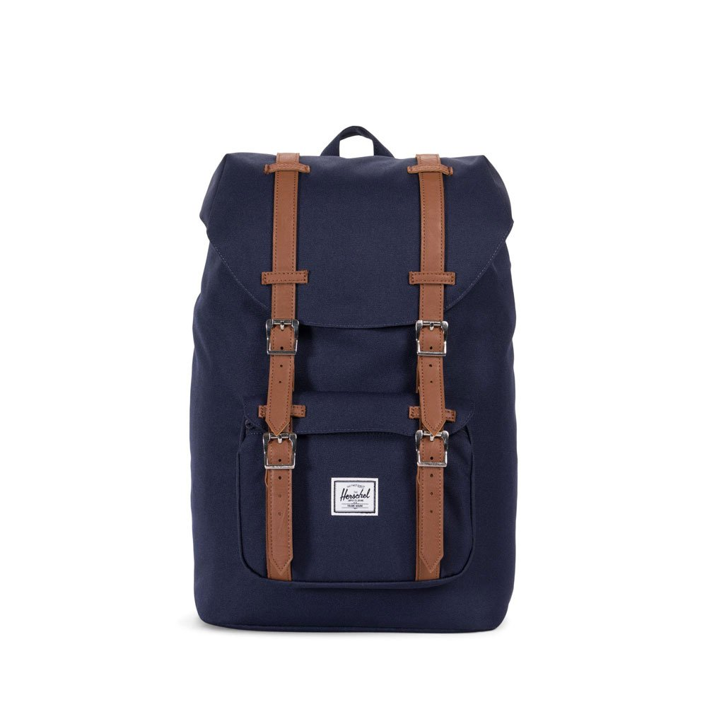 Herschel Supply Co. Little America Mid-Volume Backpack, Peacoat/Tan Synthetic Leather, One Size