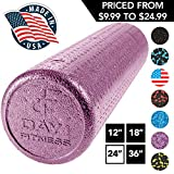 High Density Muscle Foam Rollers by Day 1 Fitness - Sports Massage Rollers for Stretching, Physical Therapy, Deep Tissue, Myofascial Release - Ideal for Exercise and Pain Relief - Solid Purple, 24'