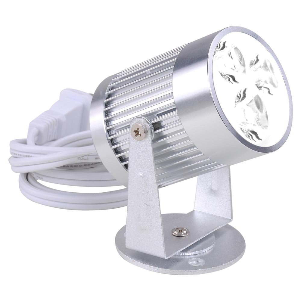 GHP 3W 3-LED White Aluminum Bright Disco Ball Pinspot Light with Hanging Bracket