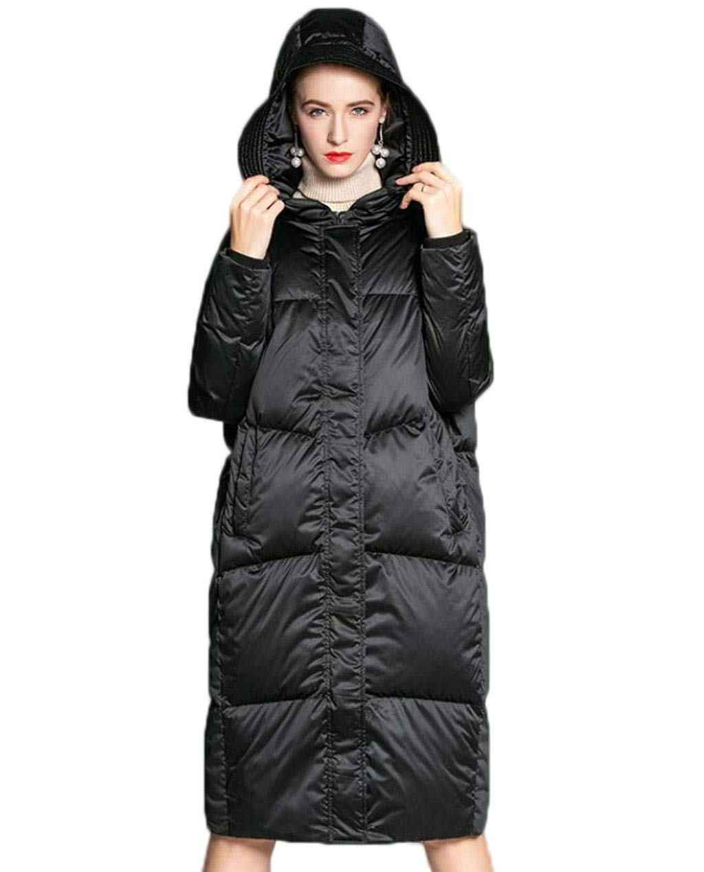 BLACK Women's Down Jacket Winter Hooded Loose Thickening Long Warm Windbreaker Jacket (color   Black, Size   S)