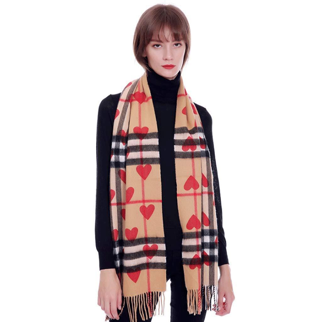 A Wool Cashmere Plaid Ladies Scarf Heart Pattern Autumn and Winter Fashion Wild Unisex Warm Shawl Bib Dual Purpose (color   D)