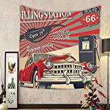 Gzhihine Custom tapestry Cars Decor Tapestry Poster Style Gasoline Station Commercial With Kitschy Elements Route 66 Theme Graphic for Bedroom Living Room Dorm Vermilion and Beige